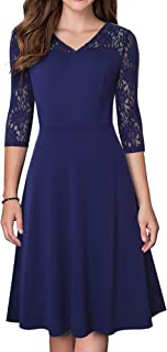 HOMEYEE Women's Vintage V Neck Floral Lace Sleeve Bridesmaid Party Dress A167