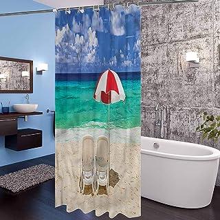Interestlee Coastal Shower Curtain Set Honeymoon in Maldives Theme Hotel Quality Bathroom Shower Curtains, 72 x 72 Inch
