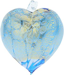 GlassOfVenice Murano Glass Spotted Heart Christmas Ornament - Aqua Gold