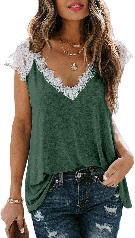 Lovezesent Women's V Neck Lace Trim Tank Tops Summer Sleeveless Tunic Shirts Blouses Tops