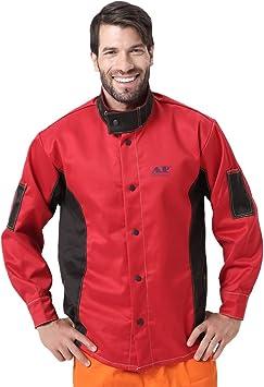 Chaqueta de soldadura, resistente al fuego/calor ya la abrasión, tejido ignífugo, de algodón, prenda de protección - - X-Large