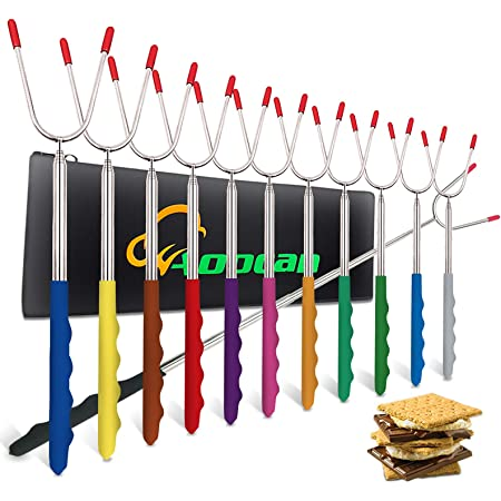 32 Inch 8Pcs Smores Sticks with Wooden Handle Extendable Forks Telescoping Smores Kit for Fire Pit Campfire BBQ Sorlakar Marshmallow Roasting Sticks