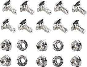 PZRT 10pcs M6 x 16mm Hammer Head Bolt T Screw,10pcs M6 Hexagon Flange Nuts Set, Carbon Steel Nickel Plated for 3030 Series Standard 8mm T-Slot Aluminum Profile
