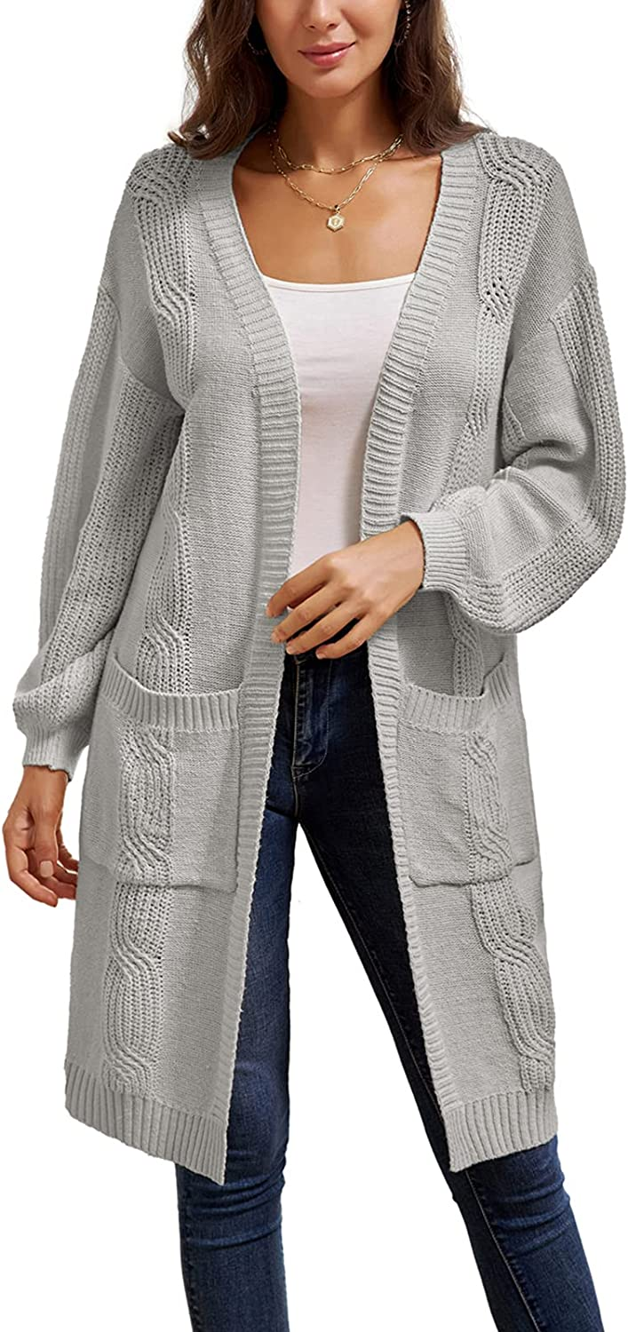 GRACE KARIN Women's Long Sleeve Knit Sweater Casual Open Front Chunky Knit Cardigan with Pockets (S-2XL)