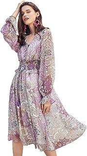 Artka Women's Boho Print V Neck Chiffon Dress with Long Lantern Sleeves