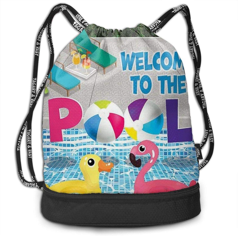 Drawstrings Backpack Bag Flamingo Max 62% OFF And Swimming Wat Special price Printed Pool