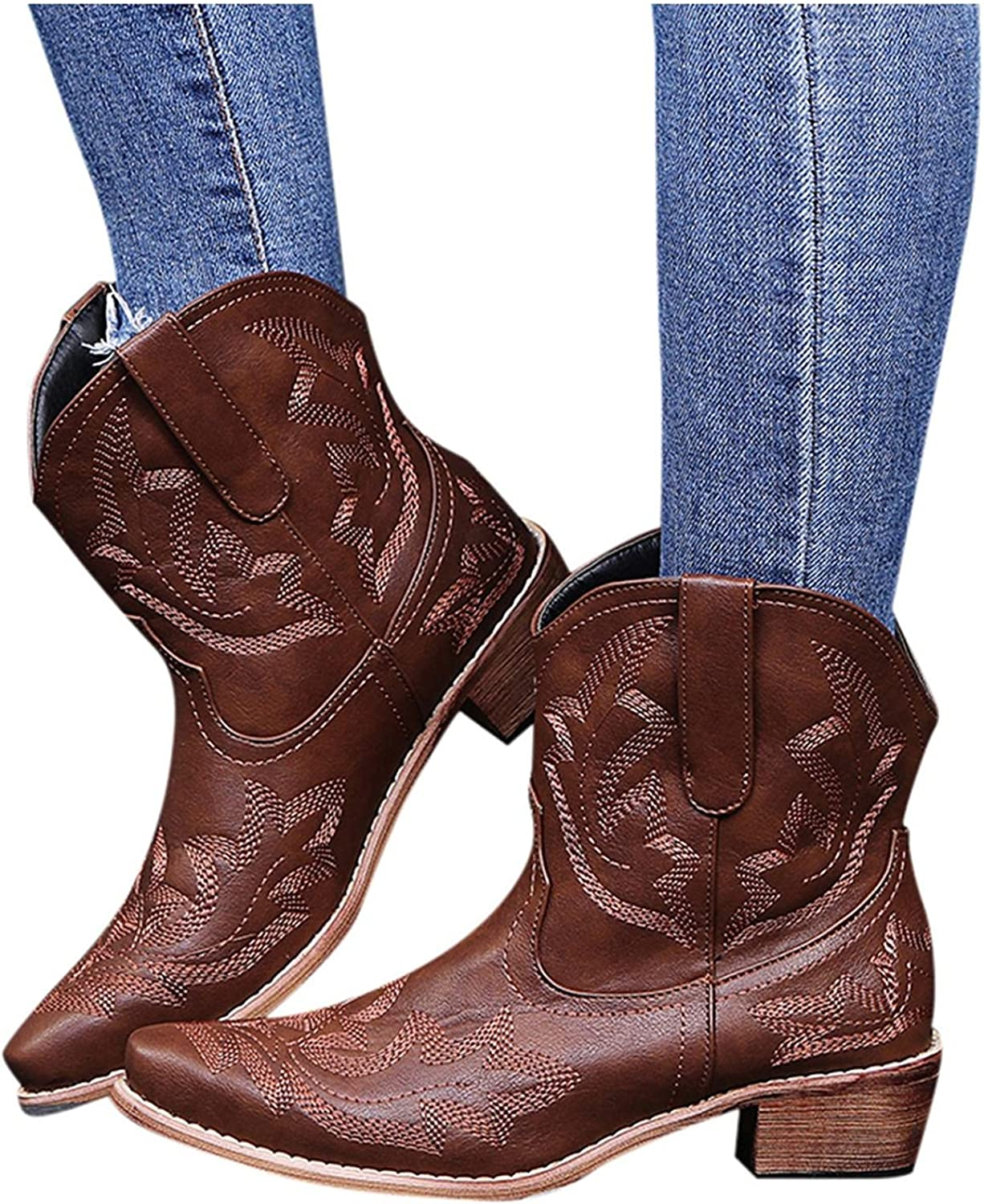 Zieglen Women's Winter Boots, Women's Boots with Stacked Heel Ankle Cowboy Booties Western Boots Snow Boots Motorcycle Boots