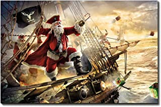 Christmas Wall Art Painting Pictures Print on Canvas Sailing Santa Claus Gift the Picture for Home Modern Decoration