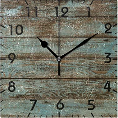 YiGee Rustic Wood Quiet Wall Clock - 8 Inch Quality Quartz Battery Operated Square Analog Silent Easy to Read Home/Office/Sch