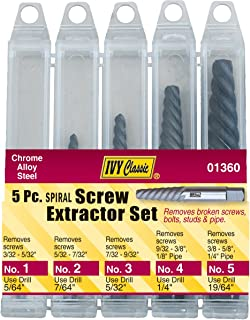 IVY Classic 01360 5-Piece Chrome Alloy-Steel Spiral Screw Extractor Set, Sturdy Plastic Case