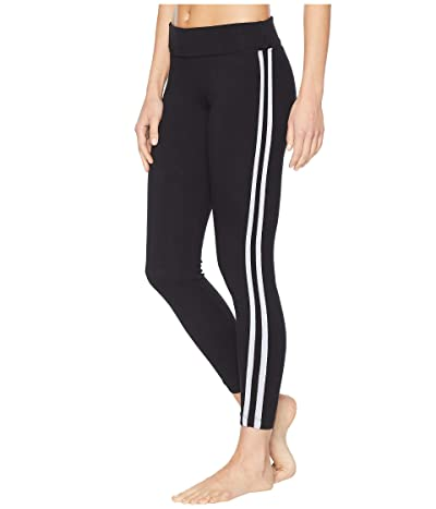 Hard Tail Flat Waist Racing Stripe Ankle Leggings (Black) Women