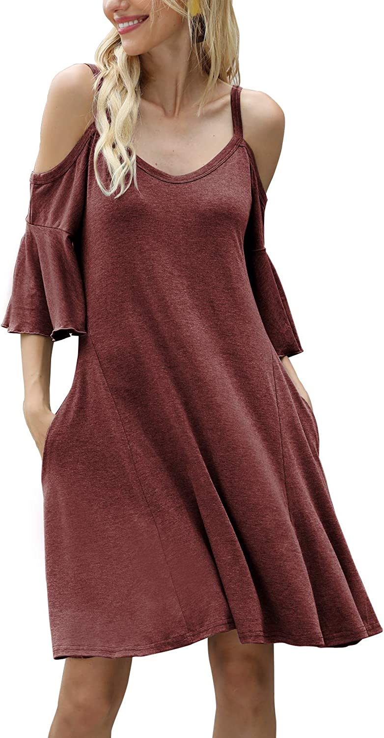 Real She Women's V Neck Summer Cold Shoulder Tunic Top Short Dress Sundress Casual Mini Dresses with Pockets