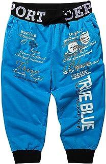 XINHUXIN New Men's Casual Shorts 3/4 Jogger Capri Pants Printing Below Knee Sports Pants with Drawstring Elastic Waist