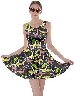 Womens Tyrannosaurus Triceratops Rex Dinosaur Jurassic World Skater Dress, XS-5XL