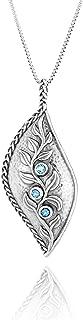 "PZ Paz Creations 925 Sterling Silver Leaf Gemstone Pendant for Women Girls | Intricate Multi Texture Design | Birthstone Blue Topaz Citrine | 18"" and 2"" Extender Round Box Chain"