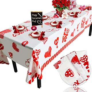 Valentine's Day Plastic Tablecloth Decorations - 3 Pack Disposable Thick Plastic Hearts Rectangular Tablecover (54 X 108 I...