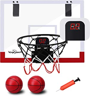 EagleStone Indoor Mini Basketball Hoop Set for Kids with Electronic Score Record and Sounds, Basketball Hoop Over The Door...