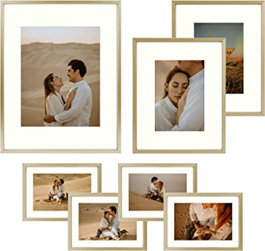 Frametory, Aluminum Picture Frames Set of 7 - Gold Gallery Wall Kit - Displays One 11x14, Two 8x10, and Four 5x7 inch Photos