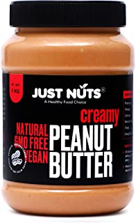 Just Nuts All Natural Creamy Peanut Butter 1 kg (Unsweetened, Non-GMO, Gluten Free, Vegan)