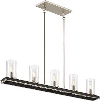 Minka Lavery 1055 691 Cole S Crossing Metal Mesh Seedy Glass Linear Island Chandelier 5 Light 300 Total Watts Coal W Brushed Nickel 8 H X 40 W Home Improvement