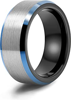 LerchPhi 8mm Brushed Gray Tungsten Carbide Mens Ring, Matte Finished with Polished Blue Bevelled Edge and Black Inner, Com...