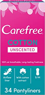 CAREFREE Daily Panty Liners, Cotton, Unscented, Pack of 34