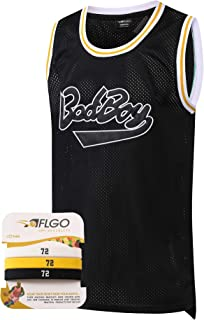 BadBoy #72 Smalls Basketball Jersey S-XXXL, 90's Clothing Throwback Notorious Biggie Costume Athletic Apparel Clothing Stitched – Top Bonus Combo Set with Wristbands