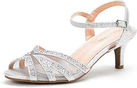 DREAM PAIRS Women's Nina Low Heel Pump Sandals