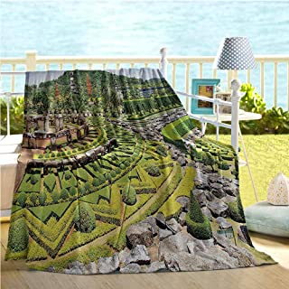 Mademai Country Home Decor Collection Travel Blanket,Landscaping in The Garden Forest on Hill Stone Benches Pathway Trimmed Bushes Print,Bed Blanket Green Grey 50