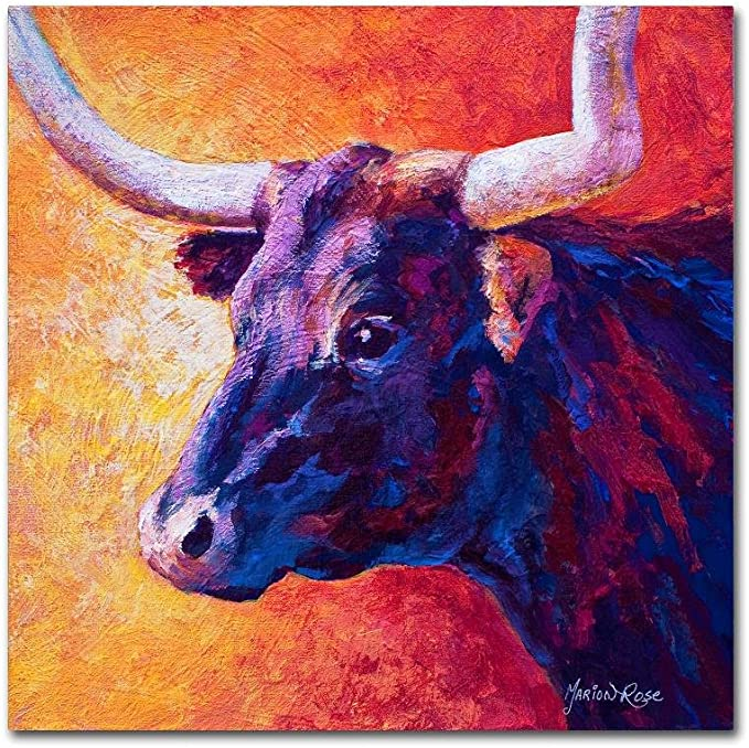 Violet Cow By Marion Rose 35x35 Inch Canvas Wall Art Posters Prints Amazon Com