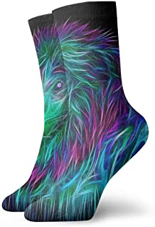 3D Art Lion Abstract Calcetines cortos transpirables Calcetines clásicos de algodón de 30 cm para hombres Mujeres Yoga Senderismo Ciclismo