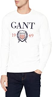 GANT Men's D1. 1949 Crest C-Neck Sweat Sweatshirt, Eggshell, 113