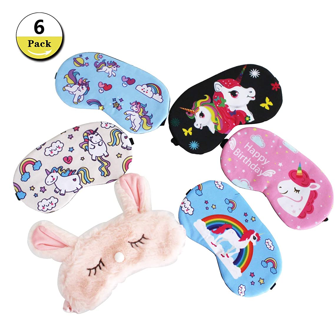 6 Pack Unicorn Sleep Eye Mask Cover Soft Blindfold Sleeping Mask for Kids Women Men