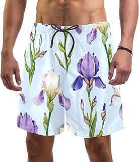 henghenghaha Mens Swim Shorts Waterproof Quick Dry Beach Shorts with Mesh Lining,Purple and White Flowers