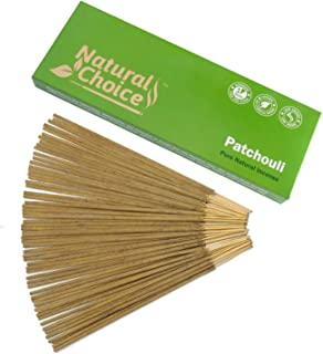 Natural Choice Incense Patchouli Incense Sticks 100 Grams, Low Smoke Traditional Incense Sticks Made from Scratch, Never Dipped