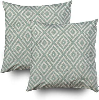 TOMWISH 2 Packs Hidden Zippered Pillowcase Ikat Diamond Pattern in Seafoam Green Cream 16X16Inch,Decorative Throw Custom Cotton Pillow Case Cushion Cover for Home