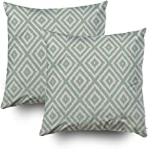 TOMWISH 2 Packs Hidden Zippered Pillowcase Ikat Diamond Pattern in Seafoam Green Cream 16X16Inch,Decorative Throw Custom Cotton Pillow Case Cushion Cover for Home