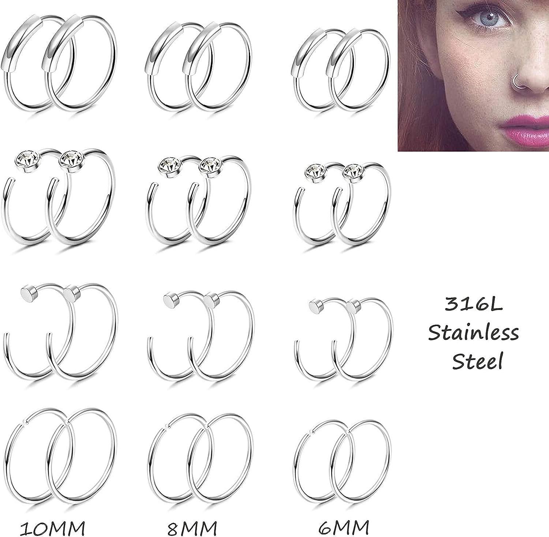 BodyBonita 42PCS 20G//22G Nose Ring Hoop Surgical Stainless Steel Piercing Bone L-Shaped Screw Labret Lip Nose Ring Hoop CZ Studs Body Piercing Jewelry 1.5-3mm