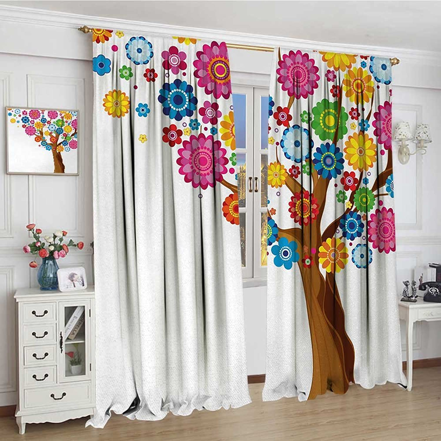 Smallbeefly Floral Widened Blackout Window Curtain Spring Flower Tree Flourishing Vibrant Blossoms Foliage Petals Kids Summer Print Waterproof Window Curtain 120 x72  Multicolor
