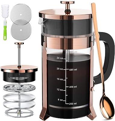 French Press Coffee Maker 34oz, 304 Stainless Steel Borosilicate Glass Coffee Press, Copper