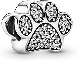 Paw Prints Charm, Sterling Silver, Cubic Zirconia, One Size