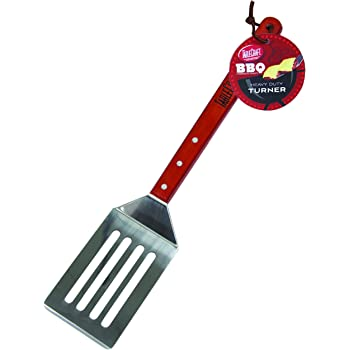 TableCraft BBQ Stainless Steel Long Handled Turner with Wood Handle, 19-Inch, Silver