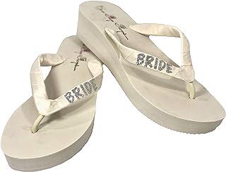 "Glitter Bride Ivory Wedge Flip Flops, Wedding Sandals with Satin & Sparkles, 1.5"" and 2"" Heel"
