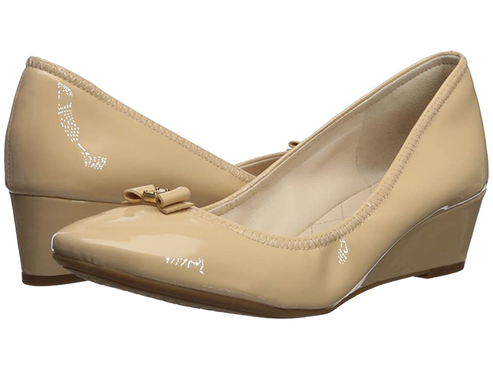 Cole Haan Tali Mini Bow Wedge (Nude Patent) Women's Shoes