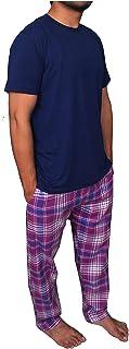 Bahob® Men's Pyjamas Sets, Short Sleeve Loungewear Set for Men Check Bottoms Soft Cotton Sleepwear Suits Nightwear Top and...