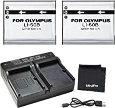 UltraPro 2-Pack LI-50B High-Capacity Replacement Batteries w/Rapid Dual Charger for Select Olympus Cameras - UltraPro Bundle Includes: Deluxe Microfiber Cleaning Cloth