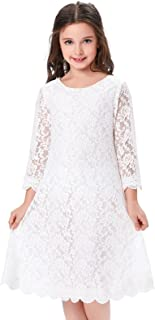 Girls Shift Flower Lace Dresses with Sleeves