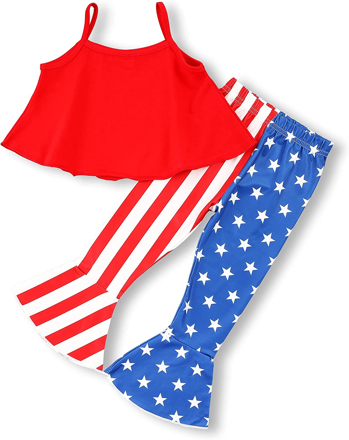 Recabee Toddler Girl 4th of July Outfits Ameican Heart Shirt Top+American Flag Flares 4th of July Toddler Girl Clothes