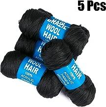 5 Packs Brazilian Yarn Wool Hair Arylic Yarn For Hair Crochet Braid Twist Warps Black Color