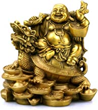 Brass Buddha Statue --12cm High Bronze Laughing Buddha Statue Sitting on a Turtle Inspirational Religious , The Simle Happy Buddha Statue Indoor Home Decor --SMABBS066